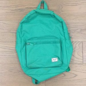 Herschel green backpack with front pocket
